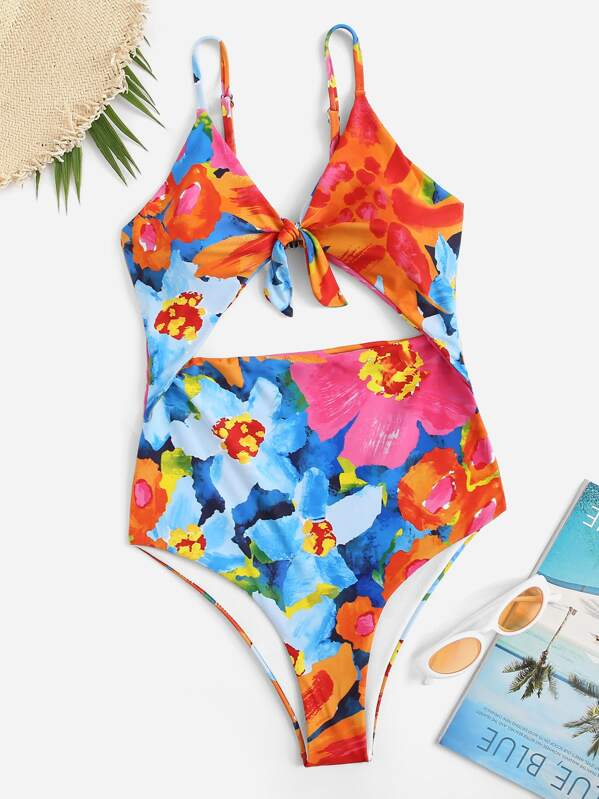 Random Floral Cut-out One Piece Swimsuit