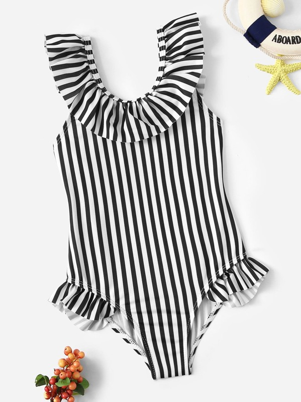 Toddler Girls Striped Ruffle One Piece Swimsuit