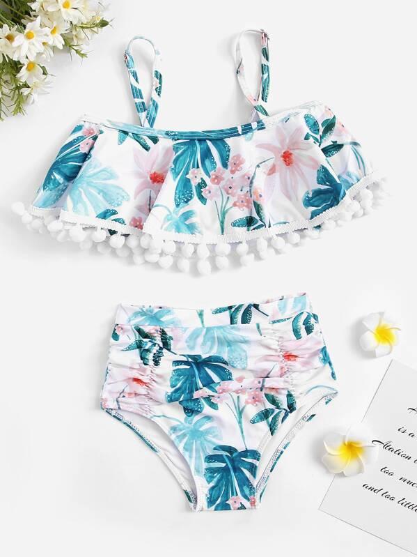 Toddler Girls Random Tropical Flounce Top With Ruched Bikini
