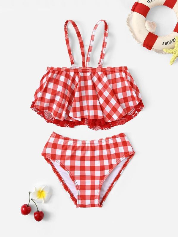Toddler Girls Gingham Contrast Lace Flounce Bikini Set