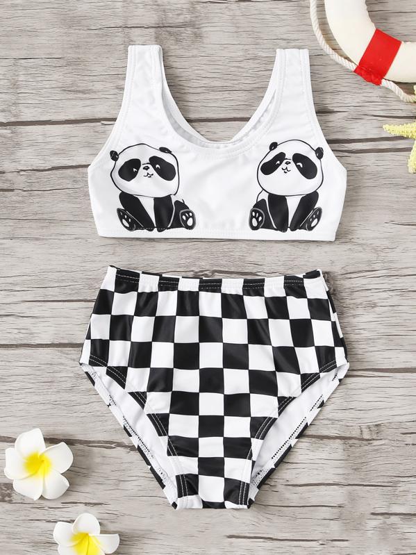 Toddler Girls Panda Top With Checker Bikini