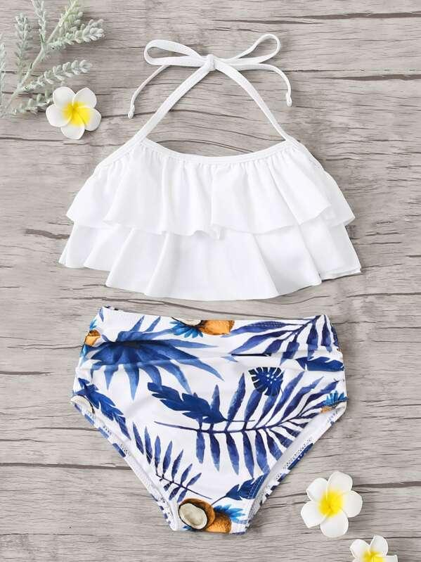 Toddler Girls Tiered Layer Top With Random Tropical Bikini