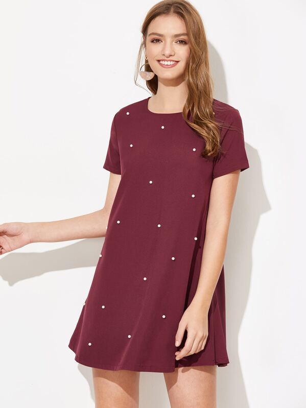 Faux Pearl Studded Tunic Dress