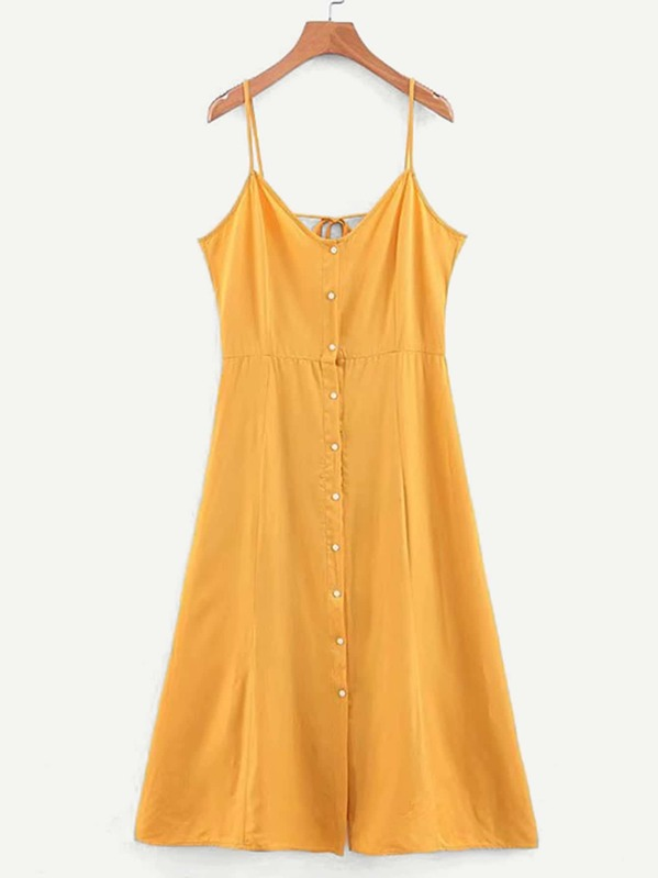 Knot Back Button Through Cami Dress, null