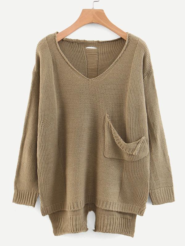 V-neck Pocket Front Dip Hem Sweater