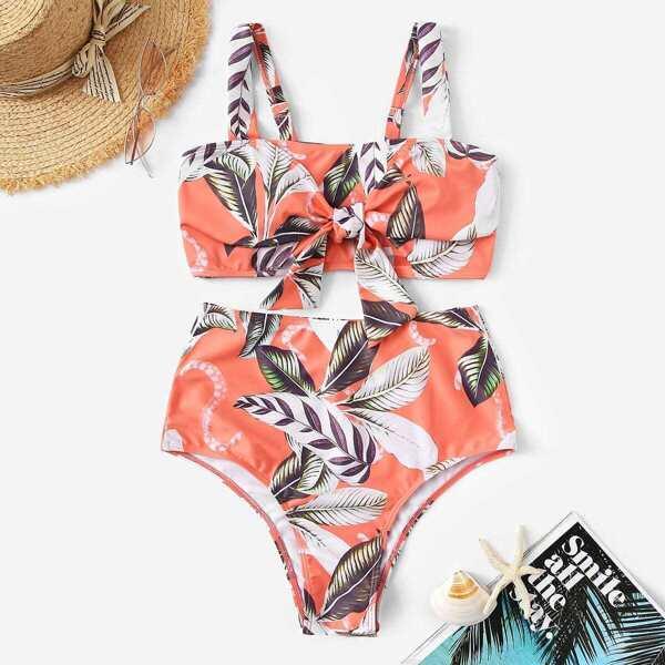 Random Leaf Print High Waist Bikini