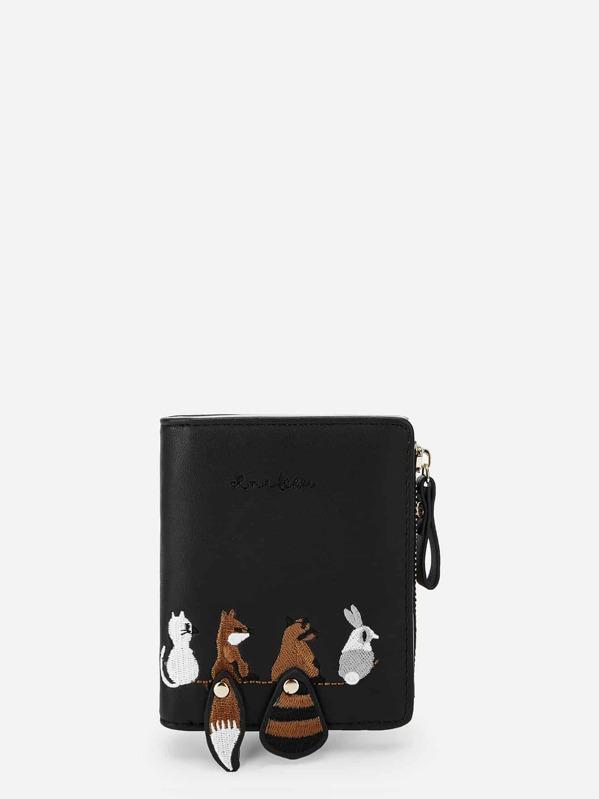 Animal Embroidery Zipper Purse, Black