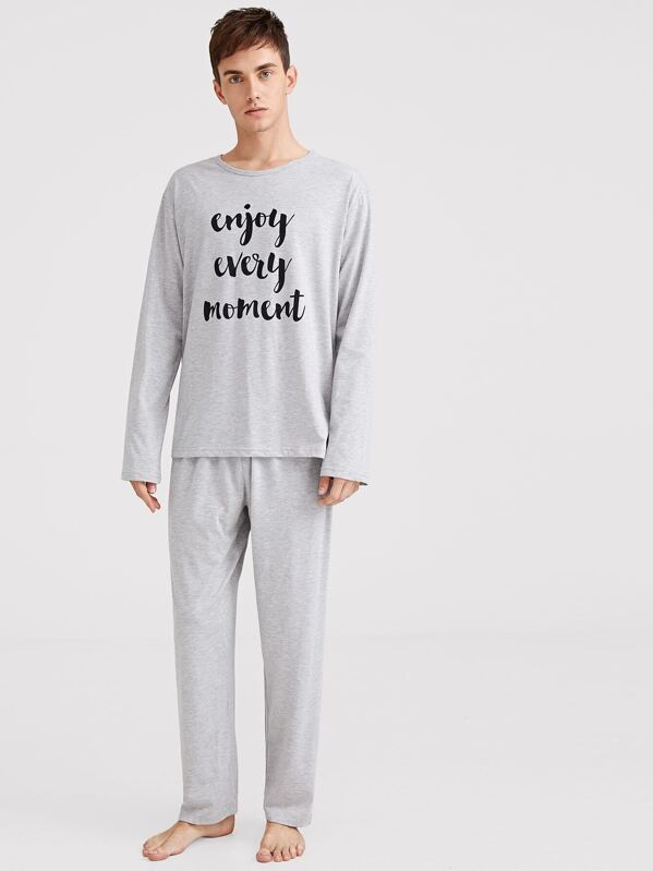 Men Slogan Print Pajama Set