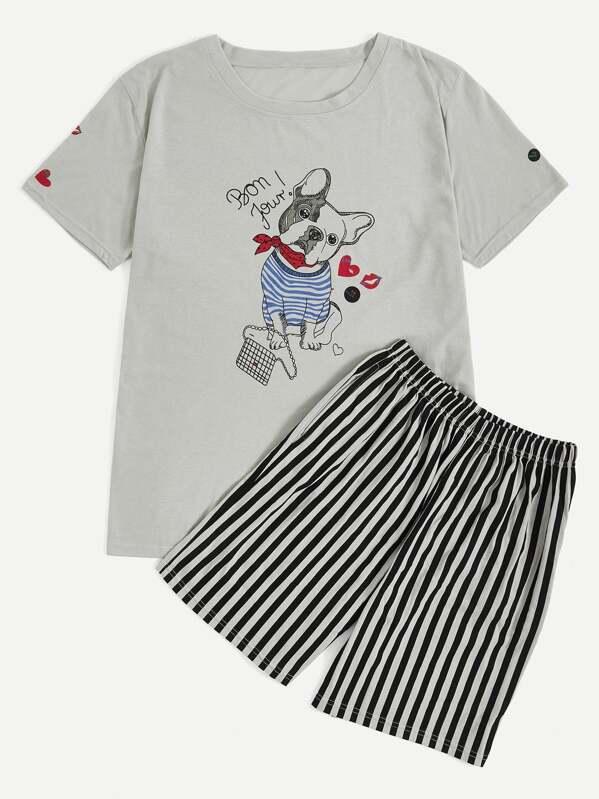 Men Dog Print Top & Striped Shorts PJ Set