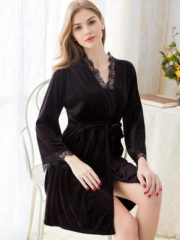 Eyelash Lace Self Belted Velvet Robe