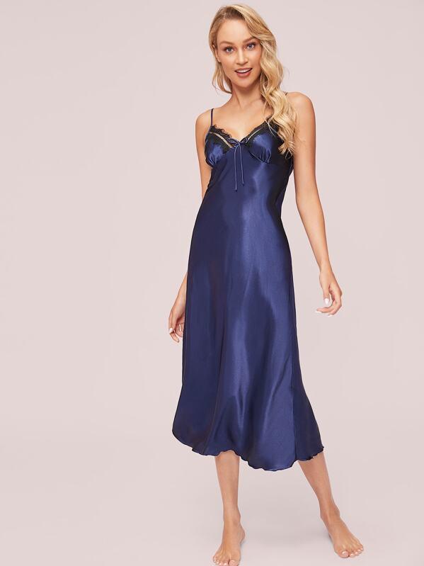 Lace Trim Knot Detail Satin Cami Dress