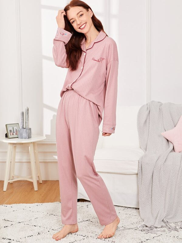 Letter Embroidered Ribbed Pajama Set