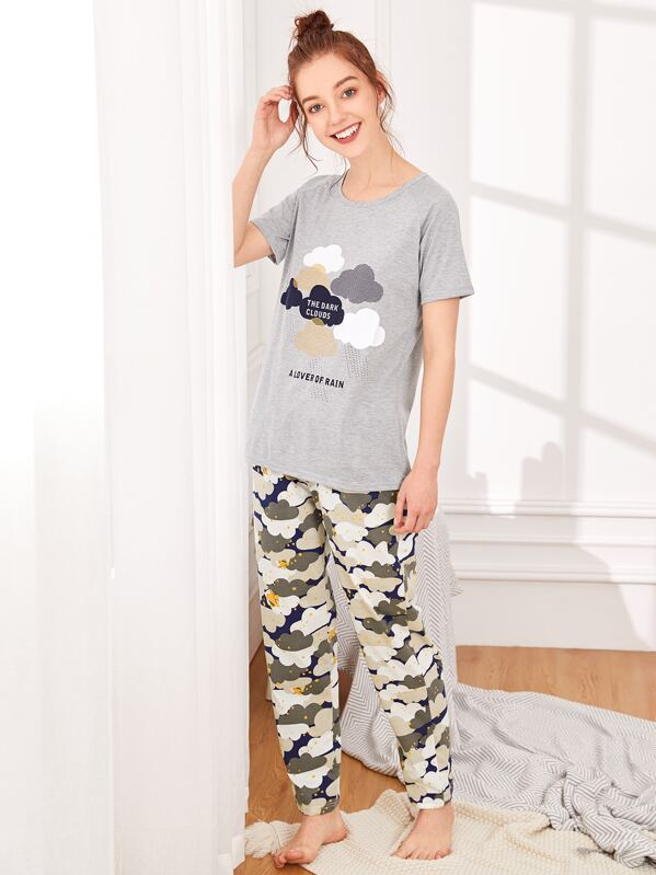 Cloud & Star Print Pajama Set