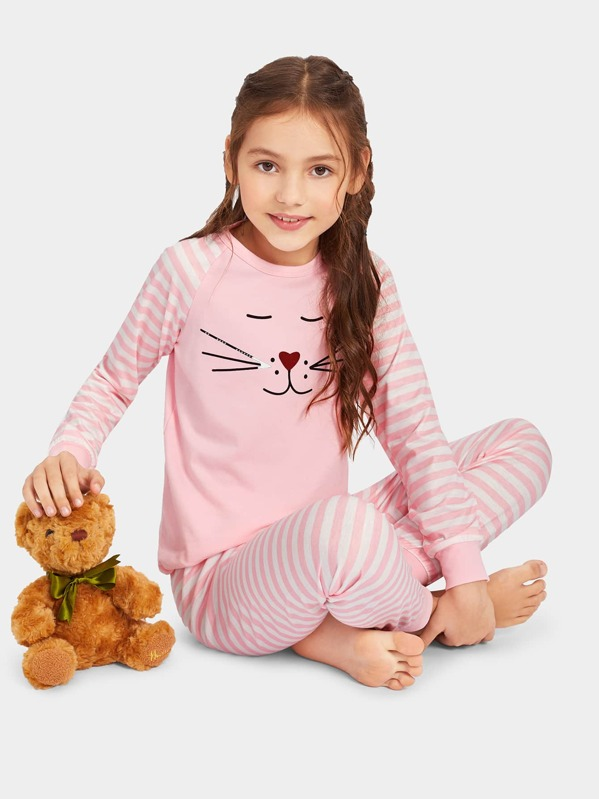 Girls Cartoon Print Striped Pajama Set