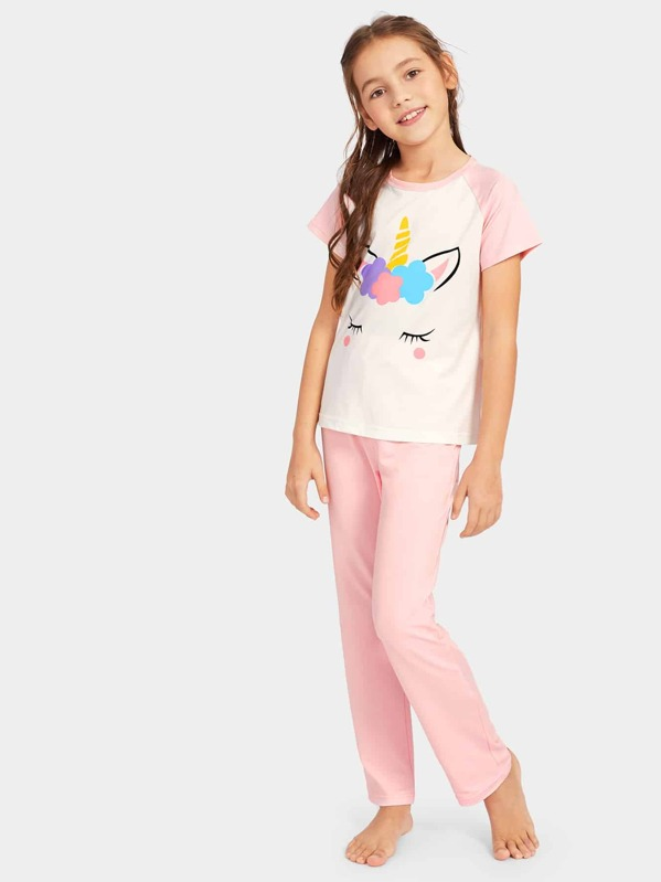 Girls Unicorn Print Pajama Set