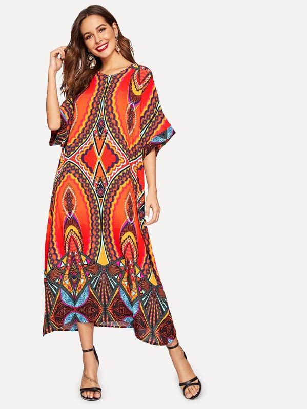 Batwing Sleeve Tribal Print Hijab Dress