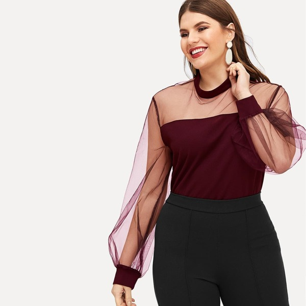 Plus Mesh Yoke Lantern Sleeve Top