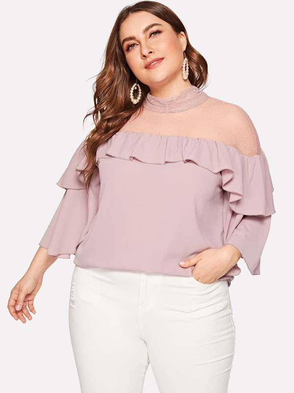 Plus Mock Neck Dot Mesh Yoke Flounce Top