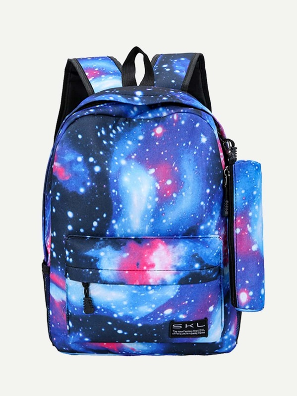 Kids Galaxy Design Backpack With Pencil Case