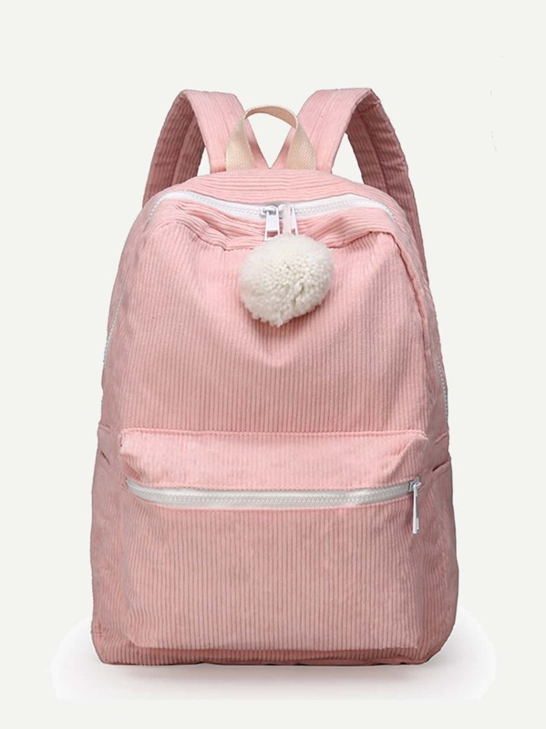 Kids Pom Pom Decor Corduroy Backpack