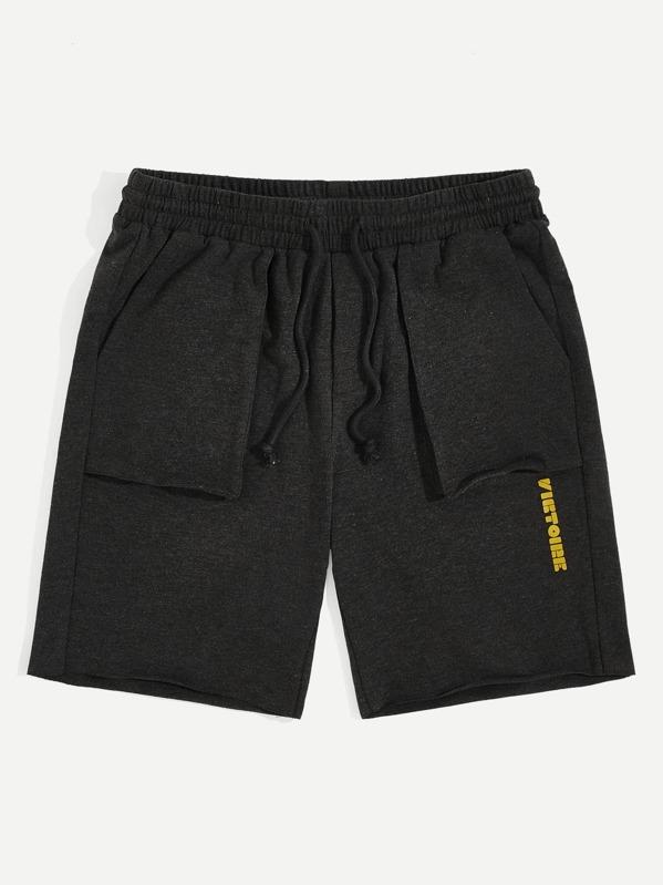 Men Letter Print Patch Pocket Heather Knit Sweat Shorts