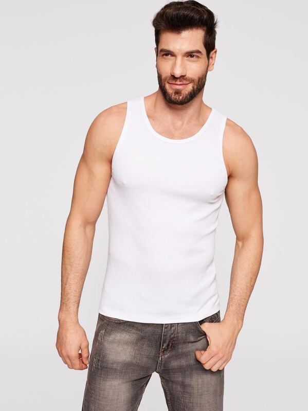 Men Rib Knit Fitted Tank Top