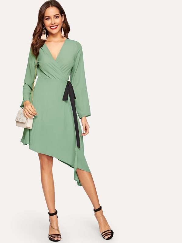 Asymmetrical Hem Surplice Front Dress, Giulia