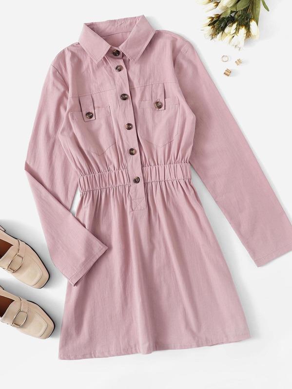 Solid Button Detail Elastic Waist Shirt Dress
