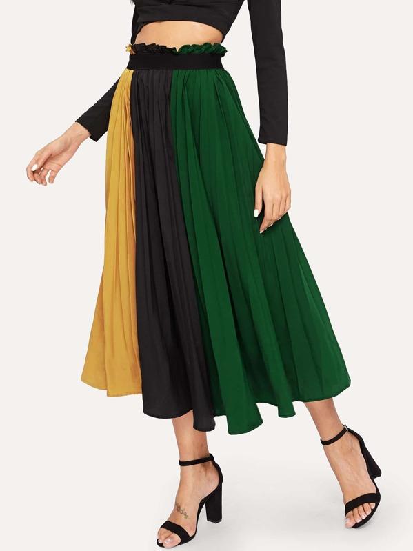 Контрастная плиссированная юбка с оригинальной талией