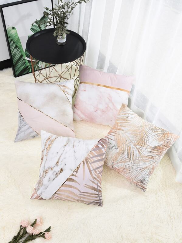 Leaf & Marble Pattern Cushion Cover 1pc, null