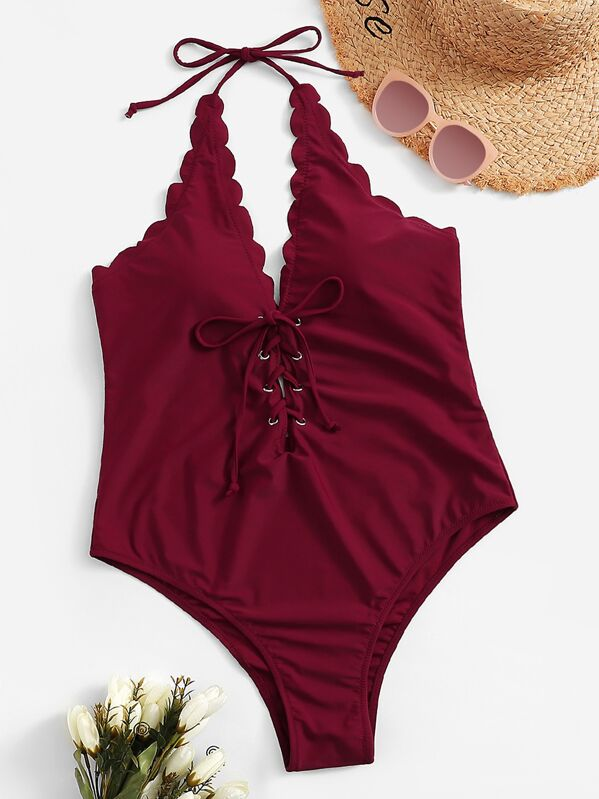 Plus Scalloped Trim Lace-up One Piece Swimwear, null