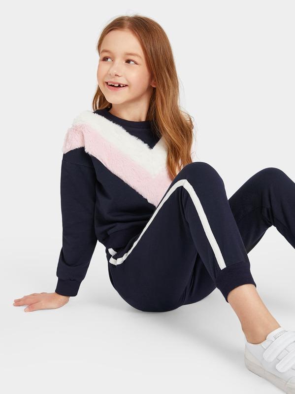 Girls Contrast Faux Fur Chevron Pullover & Pants Set