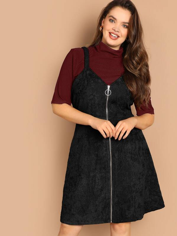 Plus O-ring Zip Front Corduroy Cami Dress, Faith Bowman