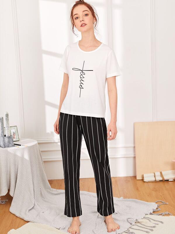 Letter Print Top & Striped Pants PJ Set
