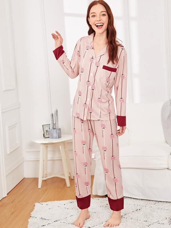 Strawberry Print Striped Pajama Set