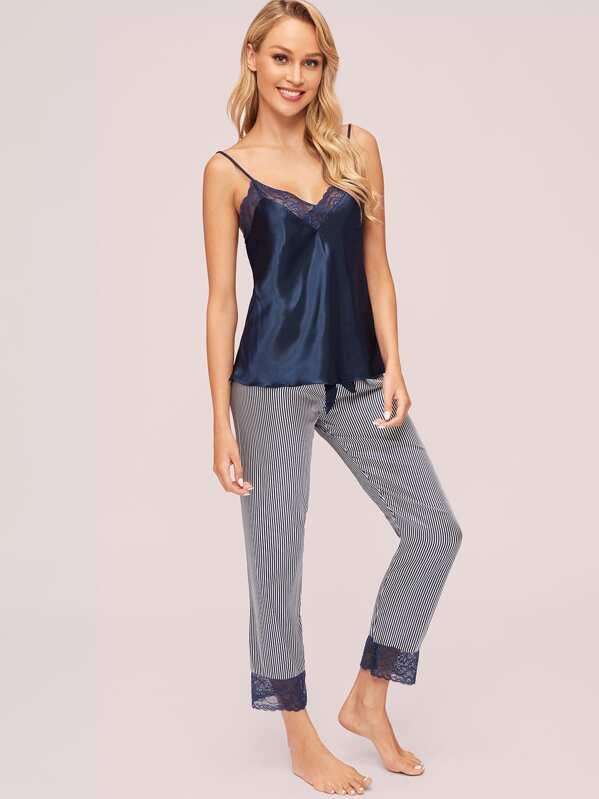 Lace Trim Satin Cami Top & Striped Pants PJ Set