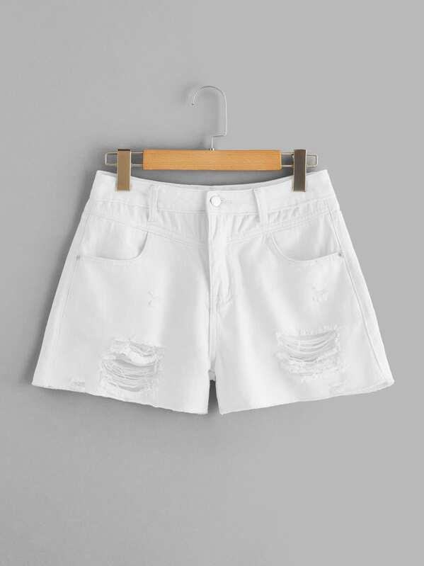 Ripped Button Fly Denim Shorts, null