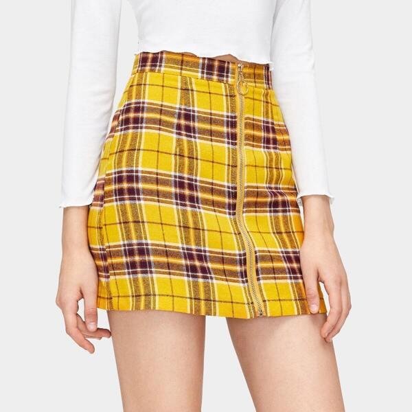 Zip Through Plaid Print Skirt