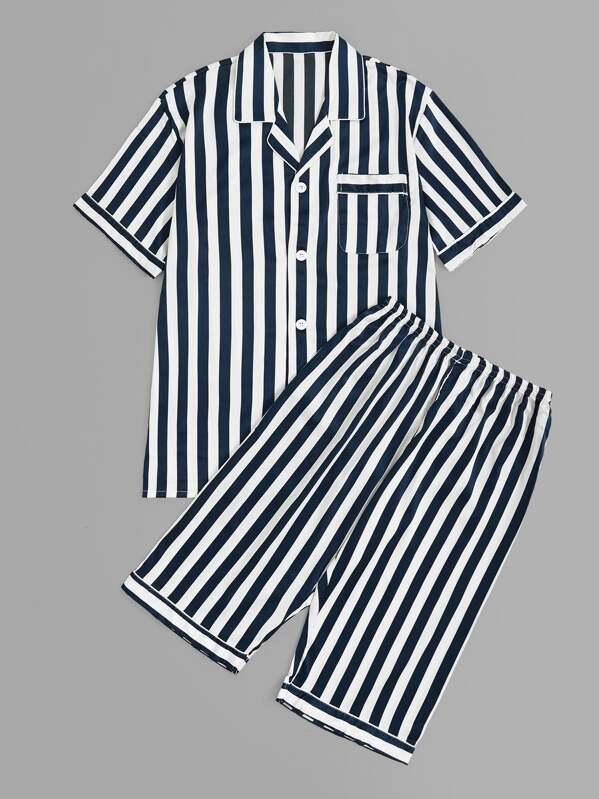 Men Striped Button-up Pajama Set