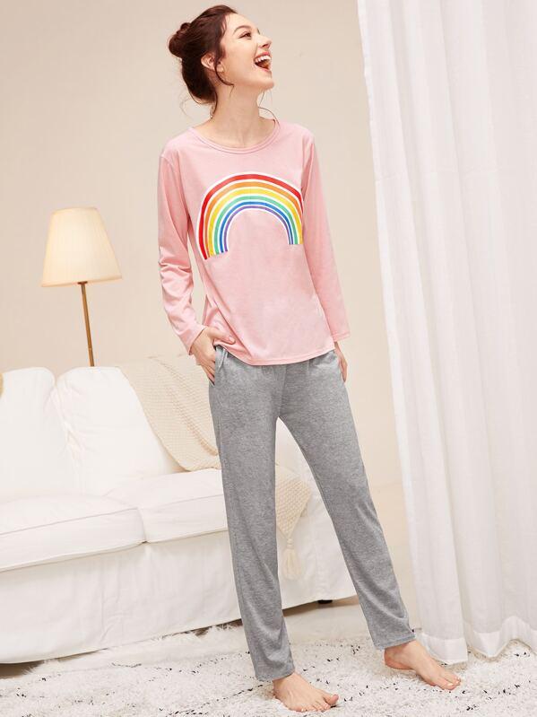 Rainbow Print Pajama Set