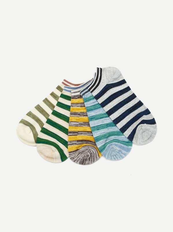 Men Striped Ankle Socks 5pairs