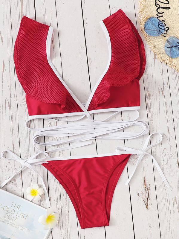 Ruffle Strappy Top With Tie Side Bikini
