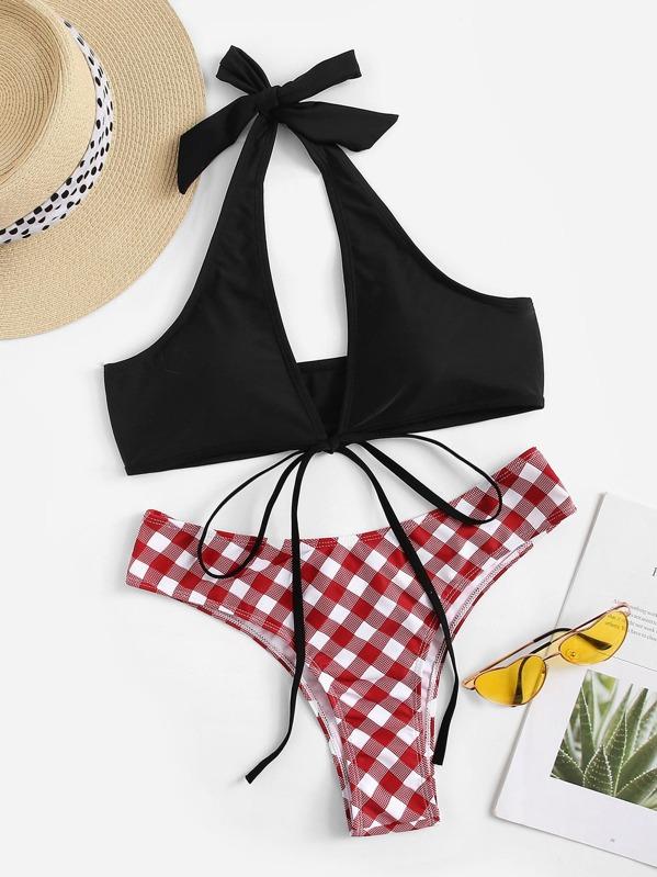 Halter Top With Gingham Cheeky Bikini Set