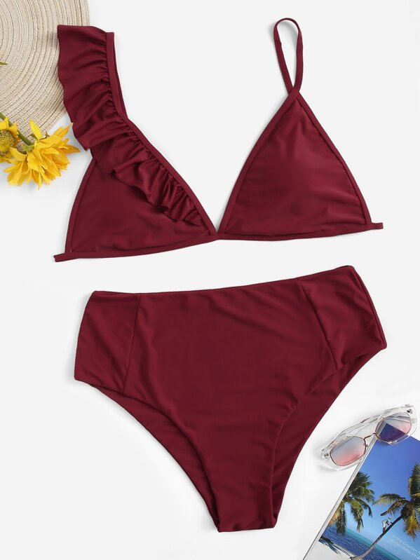 Plus Ruffle Triangle Top With High Waist Bikini