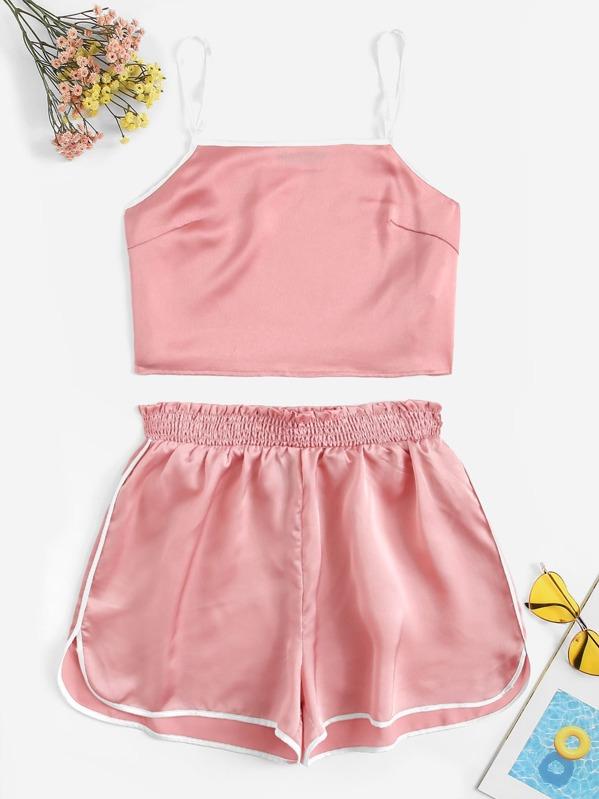 Satin Cami Top & Contrast Binding Shorts PJ Set