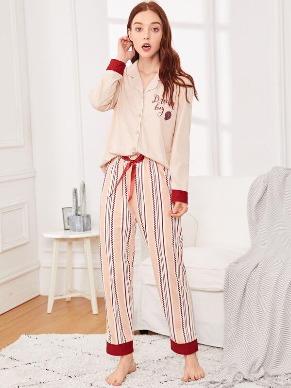 Strawberry & Letter Print Striped Pajama Set