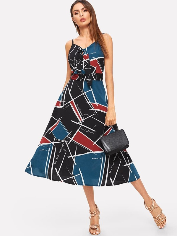 Geo And Letter Print Cami Dress, Andy