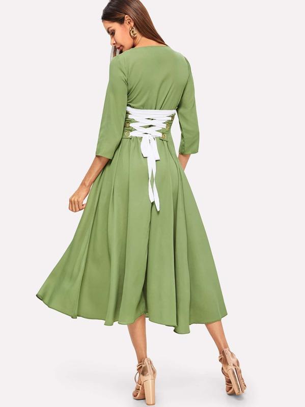 Lace Up Waist Flared Dress