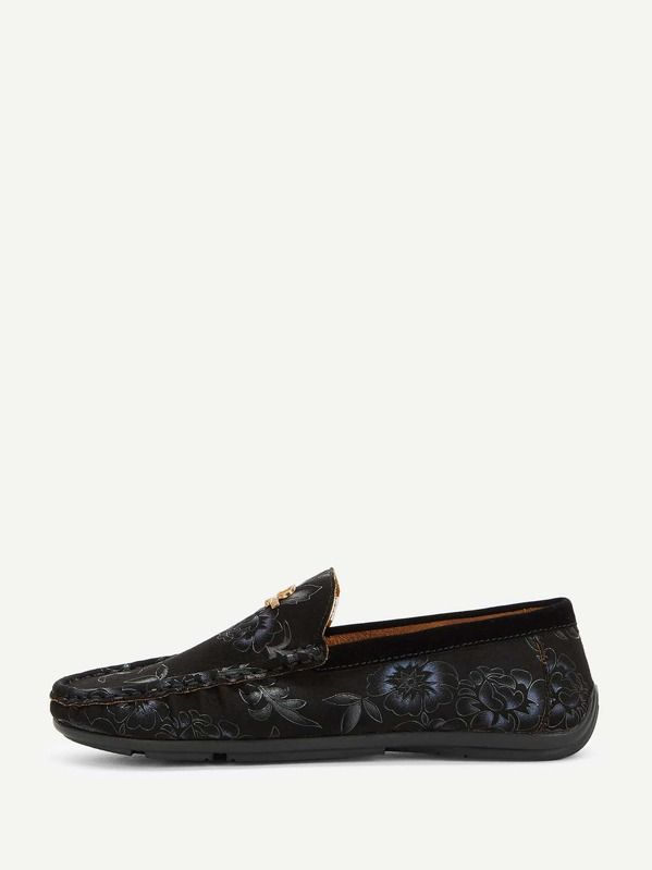 Men Floral Print Loafers