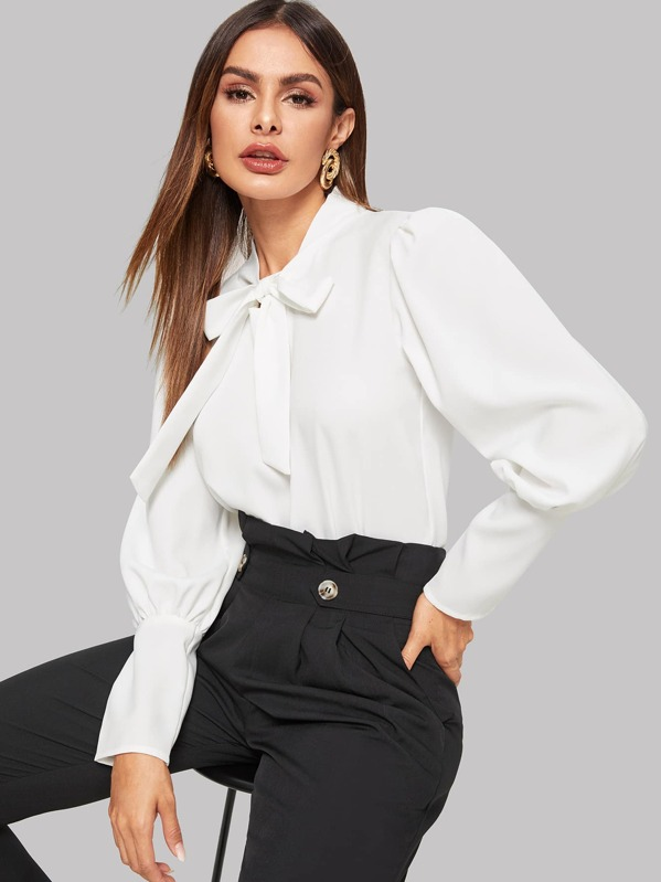 Tie Neck Leg-Of-Mutton-Sleeve Blouse